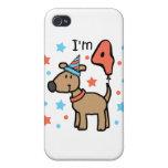 Cumpleaños cuatro del perro iPhone 4 cárcasa