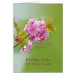 Cumpleaños, cuñada, flores de cerezo felicitaciones