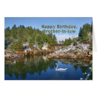 Cumpleaños, cuñado, lago mountain, cisne, coche tarjeta de felicitación