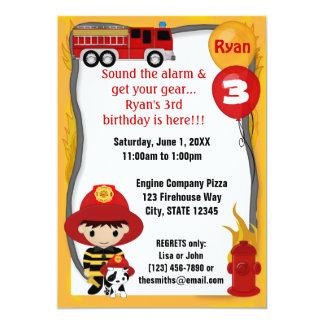 """Cumpleaños dálmata FF01B del bombero del coche de Invitación 5"""" X 7"""""""