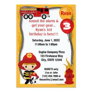 """Cumpleaños dálmata FF01D del bombero del coche de Invitación 5"""" X 7"""""""