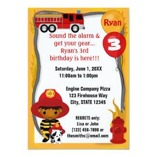 """Cumpleaños dálmata FF03B del bombero del coche de Invitación 5"""" X 7"""""""