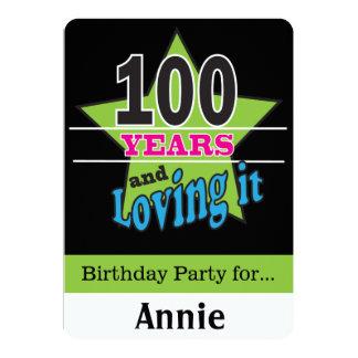 """Cumpleaños de 100 años invitación 5"""" x 7"""""""