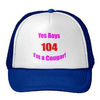 Cumpleaños de 104 pumas gorro de camionero