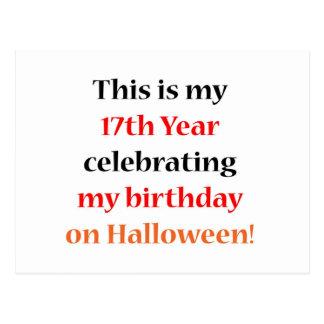 Cumpleaños de 17 Halloween Postal