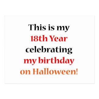 Cumpleaños de 18 Halloween Tarjetas Postales