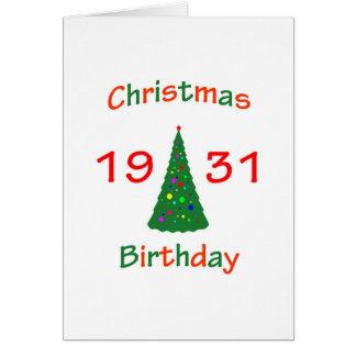 Cumpleaños de 1931 navidad tarjeta de felicitación