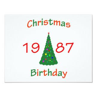 Cumpleaños de 1987 navidad invitación 10,8 x 13,9 cm