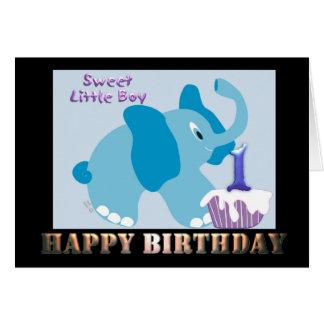 Cumpleaños de 1 año del muchacho una tarjeta año