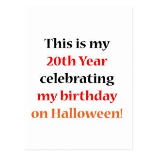 Cumpleaños de 20 Halloween Postal