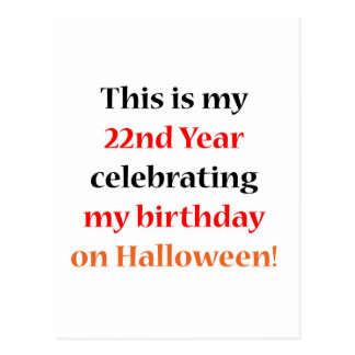 Cumpleaños de 22 Halloween Tarjeta Postal