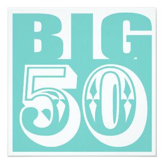 """Cumpleaños de 50 edades/invitación GRANDES de la Invitación 5.25"""" X 5.25"""""""