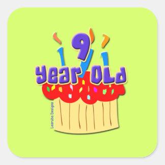 Cumpleaños de 9 años colcomanias cuadradases