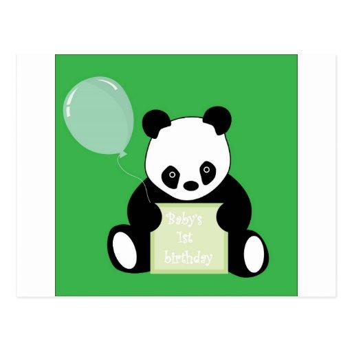 Cumpleaños de Babys del oso de panda 1r Tarjetas Postales