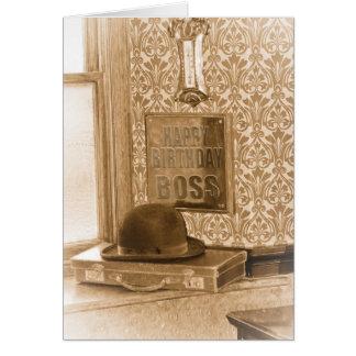 Cumpleaños de Boss - vintage, nostalgia, Tarjeta De Felicitación