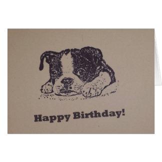 Cumpleaños de Boston Terrier Tarjeta De Felicitación