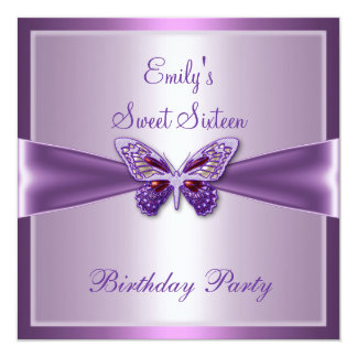 """Cumpleaños de color de malva púrpura de la invitación 5.25"""" x 5.25"""""""