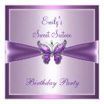 Cumpleaños de color de malva púrpura de la invitación 13,3 cm x 13,3cm