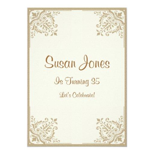 """Cumpleaños de color topo floral de las esquinas invitación 5"""" x 7"""""""