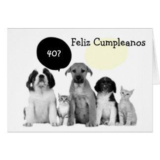 CUMPLEAÑOS de CUARENTA CUMPLEANOS=40th Tarjeta De Felicitación