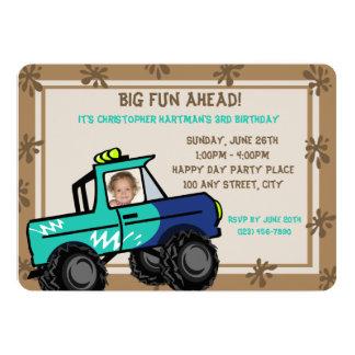 """Cumpleaños de cuatro ruedas de la diversión invitación 5"""" x 7"""""""