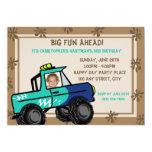 Cumpleaños de cuatro ruedas del camión de la invitaciones personalizada