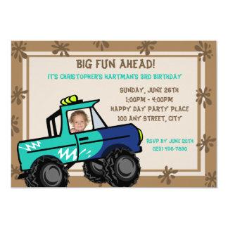 """Cumpleaños de cuatro ruedas del camión de la invitación 5"""" x 7"""""""