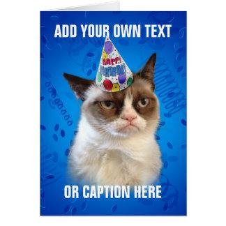 Cumpleaños de Customizeable del gato gruñón feliz Tarjeta De Felicitación