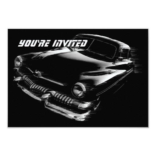 """Cumpleaños de destello negro V2 del coche Invitación 3.5"""" X 5"""""""
