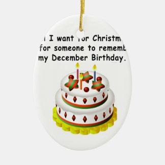 Cumpleaños de diciembre adorno ovalado de cerámica