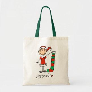 Cumpleaños de diciembre del chica bolsa de mano