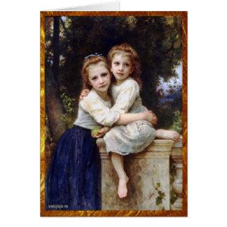 Cumpleaños de dos hermanas tarjeta de felicitación