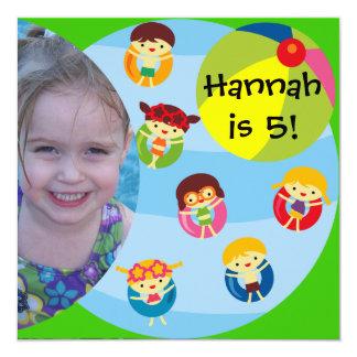 """Cumpleaños de encargo de la natación de la fiesta invitación 5.25"""" x 5.25"""""""