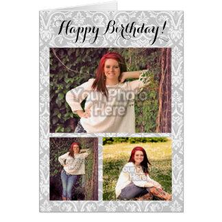 Cumpleaños de encargo del damasco de la imagen del tarjeta de felicitación