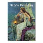 Cumpleaños de hadas bonito del océano de la vela tarjeta de felicitación