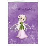 Cumpleaños de hadas de la flor feliz tarjetas
