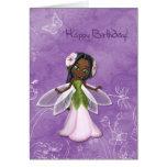 Cumpleaños de hadas de la flor feliz tarjetón