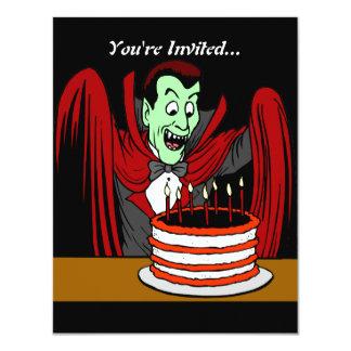 """Cumpleaños de Halloween del vampiro de Drácula Invitación 4.25"""" X 5.5"""""""