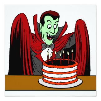 """Cumpleaños de Halloween del vampiro de Drácula Invitación 5.25"""" X 5.25"""""""
