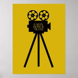 Cumpleaños de Hollywood del proyector de película Póster
