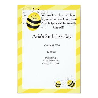 """Cumpleaños de la abeja invitación 5"""" x 7"""""""