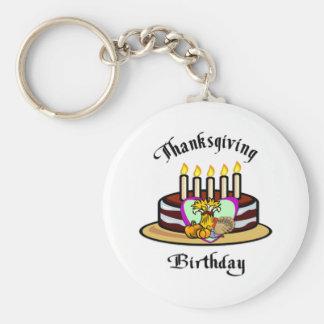 Cumpleaños de la acción de gracias llavero redondo tipo pin