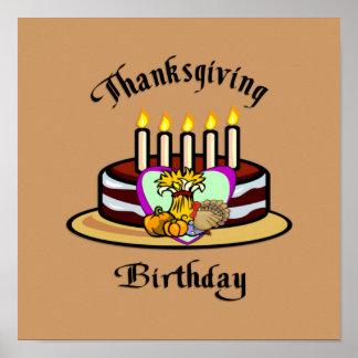 Cumpleaños de la acción de gracias póster