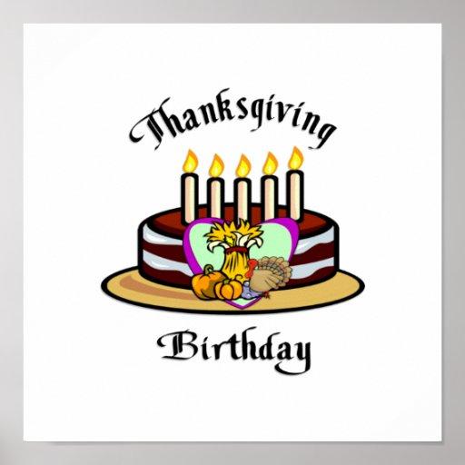 Cumpleaños de la acción de gracias posters