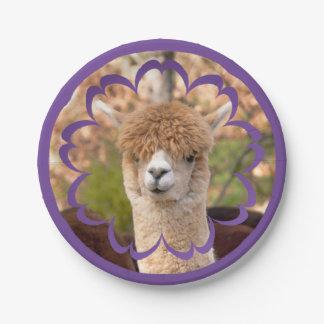 Cumpleaños de la alpaca placa de papel de 7 platos de papel