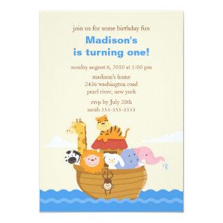 """Cumpleaños de la arca de Noah lindo 1r Invitación 5"""" X 7"""""""