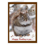 Cumpleaños de la ardilla del canto tarjeta de felicitación