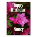 Cumpleaños de la azalea rosada de Nancy feliz Tarjeta De Felicitación