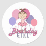 Cumpleaños de la bailarina de los chicas pegatina redonda