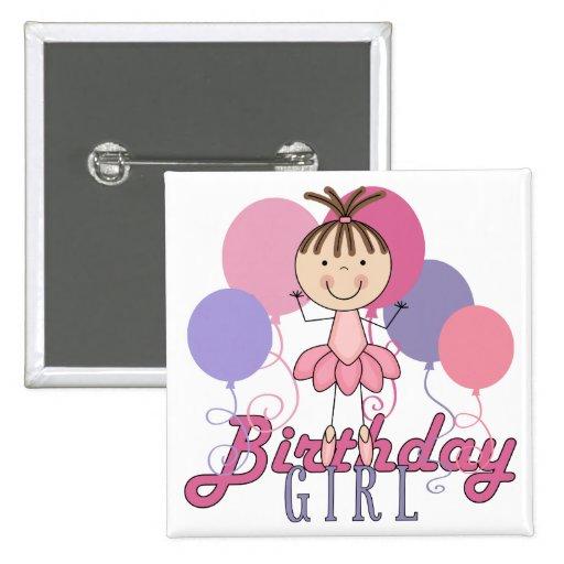 Cumpleaños de la bailarina de los chicas pin cuadrada 5 cm